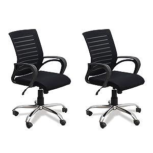 Fabsy Interiors DZYN Furnitures Steel Mesh Revolving Chair (Black, 40X24X20-inches)