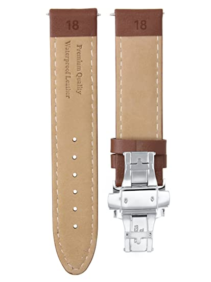 9fcf62360 18MM Smooth Leather Watch Strap Band Deployment Clasp Buckle for IWC Light  Brown #2 | Amazon.com