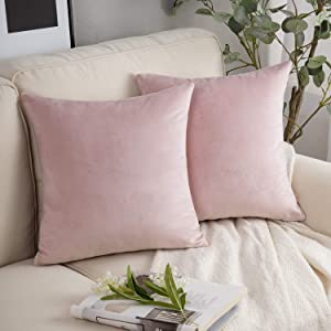 Phantoscope Pack of 2 Velvet Decorative Throw Pillow Covers Soft Solid Square Cushion Case for Couch Light Pink 18 x 18 inches 45 x 45 cm