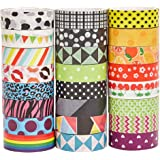 Washi Masking Tape Set of 24 Rolls - Decorative Tape Collection for DIY Crafts and Festival Gift Wrapping, Office Party Supplies, Holiday Decoration