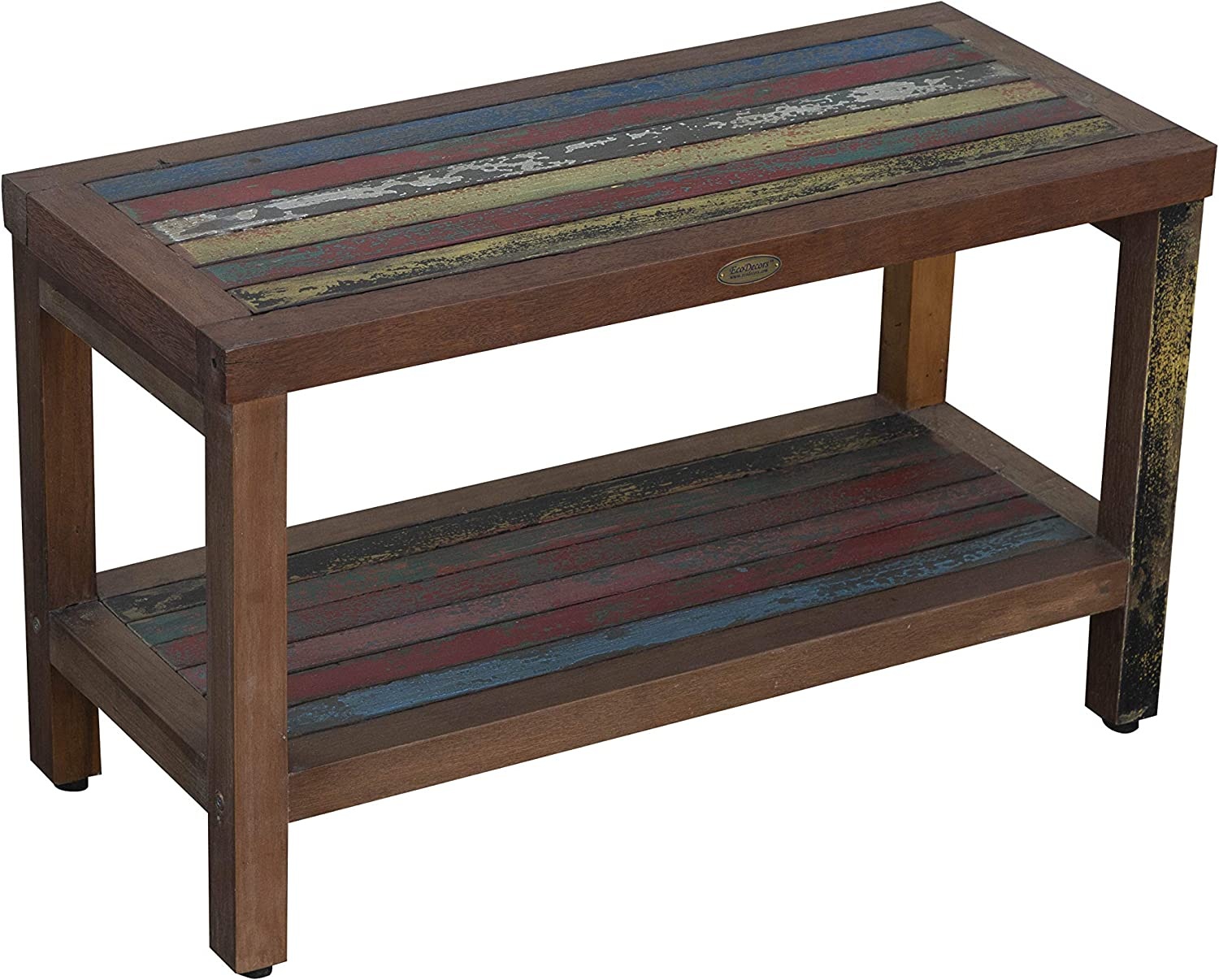 Decoteak Reclaimed Salvaged Rustic Recycled 29 Boat Wood Bench- Indoor Outdoor Bench