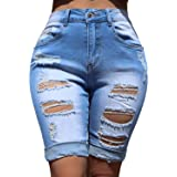 COUXILY Distressed Shorts for Women Bermuda Jean Shorts Ripped Capris High Waisted Stretchy Pants