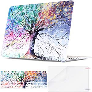 Lalumix MacBook Air 13 Inch Case 2020 2019 2018 Release A2179 A1932 Retina Display and Touch ID, Rubberized Protective Laptop Case&Keyboard Cover&Screen Protector Shell Set for Apple Mac Air 13, Tree