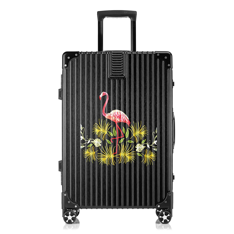 GSHCJ スーツケース すばしこいフラミンゴ キャリーケース 20インチ おしゃれ ブラック Tsaロック搭載 プリント ハード 超軽量 軽い 機内持込 ロックファスナー 旅行 ビジネス 出張 海外 修学旅行 丈夫 便利 レディース メンズ 学生 B07RY9C36S