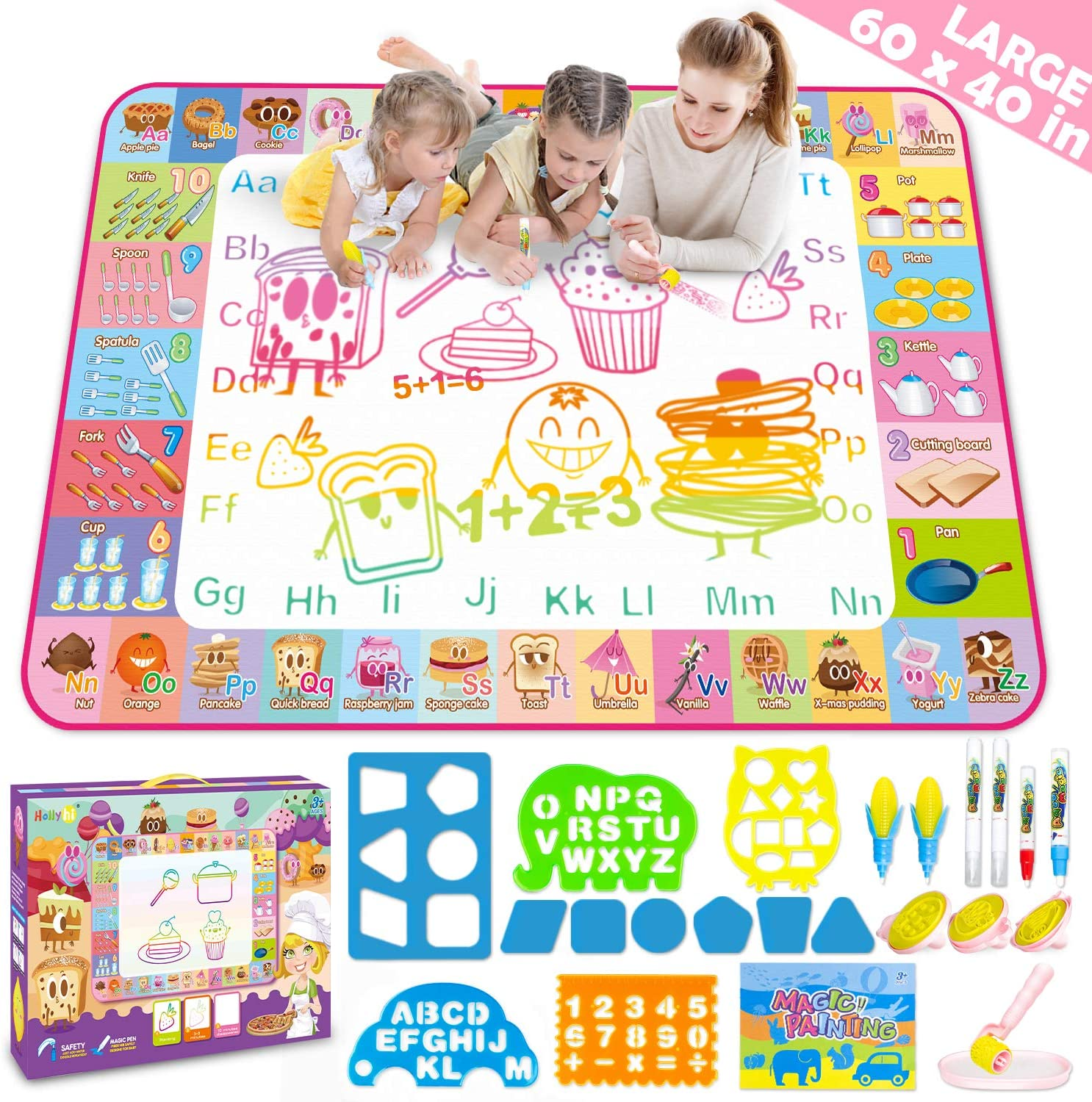 Aqua Magic Doodle Mat,Kids Toddlers Water Drawing Painting Writing Board Toy Educational Toys for Boys Girls,Neon Color Doodle Mat Best Holiday Birthday Gifts for Age 3 4 5 6 7 8 Year Old