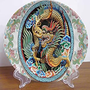 LCGGDB 10 Inch Dragon Pattern Ceramic Hanging Decorative Plate,Ancient Chinese Animal Motif Ceramic Stoneware Decorative Plate Ceramic Ornament for Home&Office Wall Decors Family Sentiment