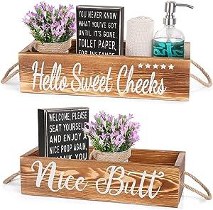 AOZITA 2 Kinds - [ All Double Side ] - Nice Butt Bathroom Decor Box & Classic Box Sign, Bathroom Decor Set, Home Decor Clearance, Storage Bins for Toilet Paper, Farmhouse Rustic Wood Organizer