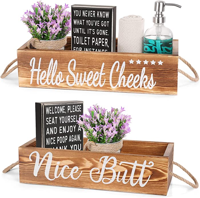 AOZITA 2 Kinds - [ All Double Side ] - Nice Butt Bathroom Decor Box & Classic Box Sign, Bathroom Decor Set, Home Decor Clearance, Storage Bins for Toilet Paper, Farmhouse Rustic Wood Organizer