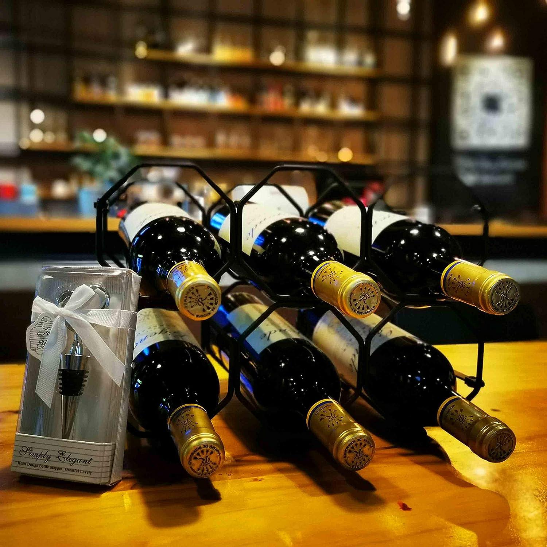 6 Bottles Wine Rack Free Standing Countertop Metal Wine Shelf Tabletop Wine Storage Holders Stands Black