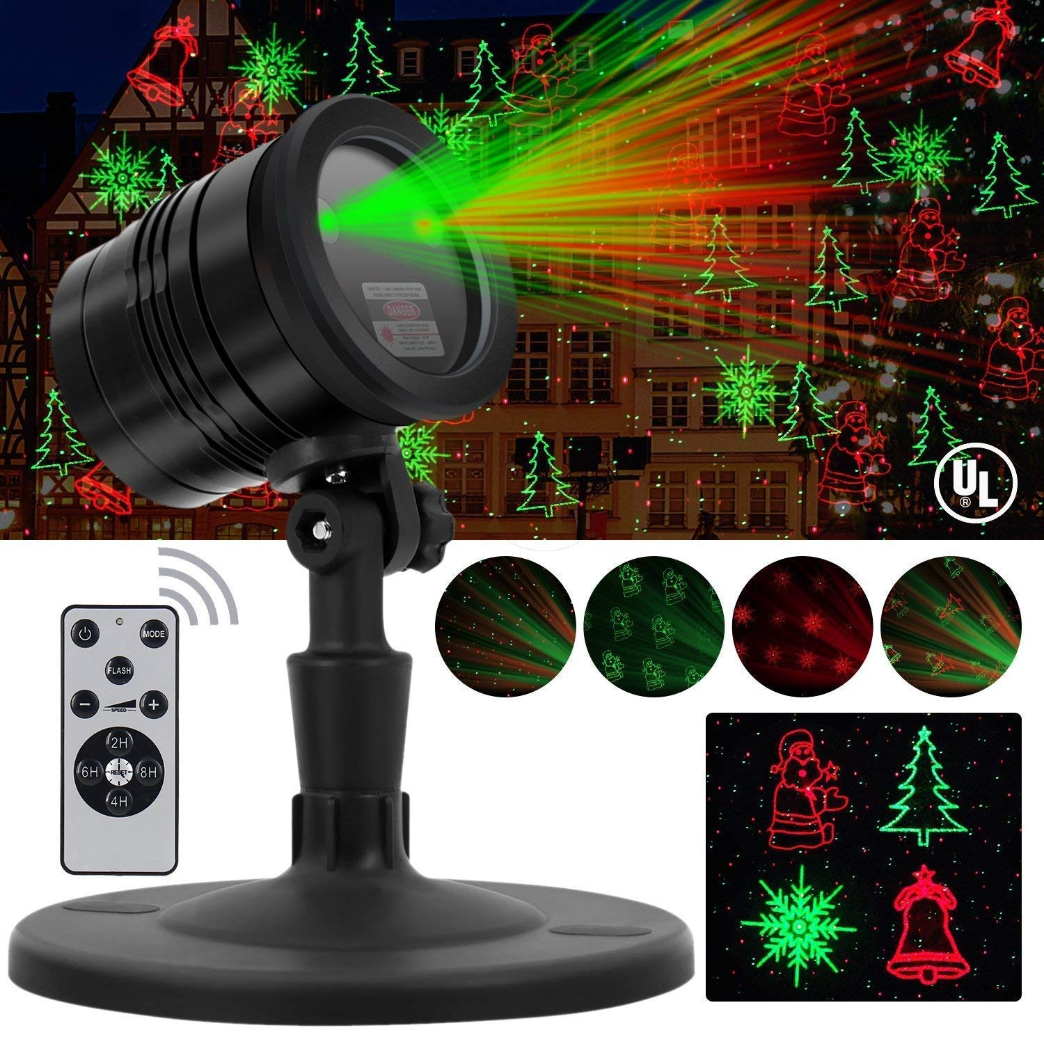 Christmas Laser Lights, Projector for Outdoor Garden Decorations - Waterproof & Timer Preset, Red & Green Slide Show in Lawn, Landscape, Holiday Party and Houses by Proteove (Image #1)