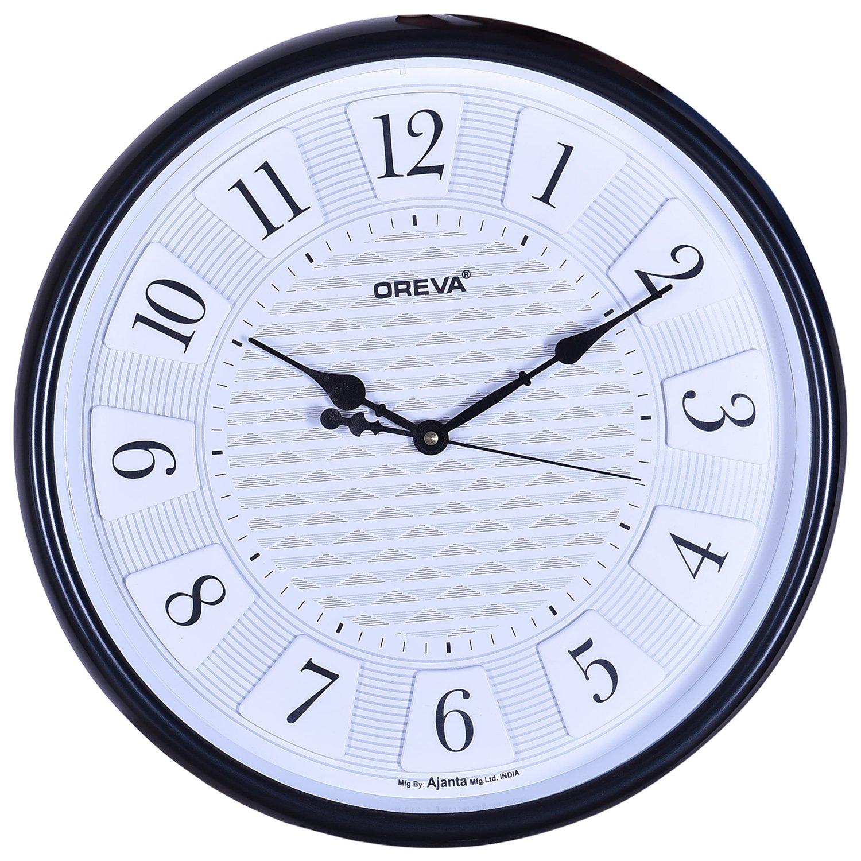 Buy oreva quartz round shape black official wall clock aq 5287 buy oreva quartz round shape black official wall clock aq 5287 online at low prices in india amazon amipublicfo Images