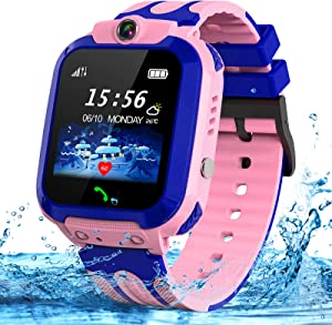 Kids Smart Watches Phone, SZBXD GPS Tracker Touch Screen Flashlight SOS Camera Clock Voice Chat Smartwatch - Boys Girls Christmas Birthday Gift (Pink)