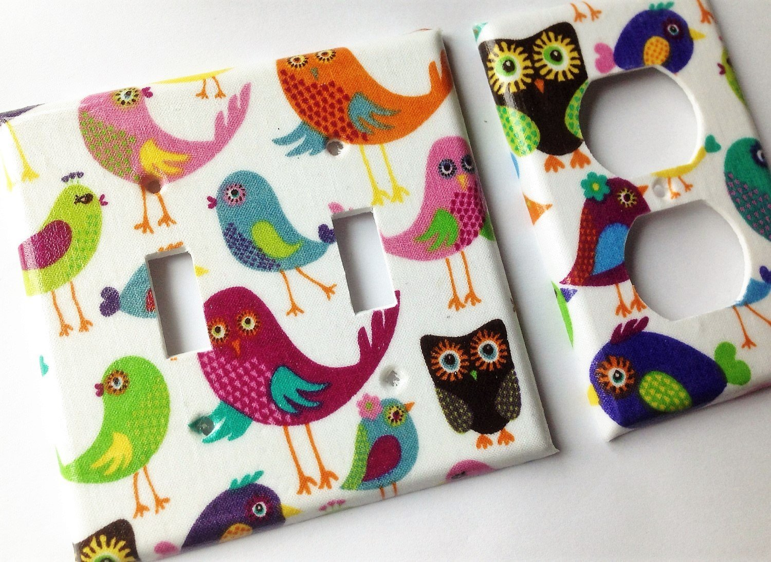 Birds And Owls Light Switch Plate Cover - Various Sizes Offered
