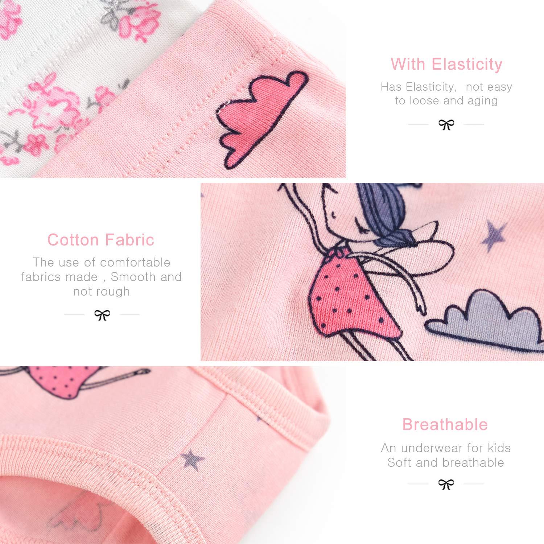 slaixiu 6-Pack Soft Cotton Little Girls Panties Cute Kids Brief Underwear 2-8 Year(NO12-110)