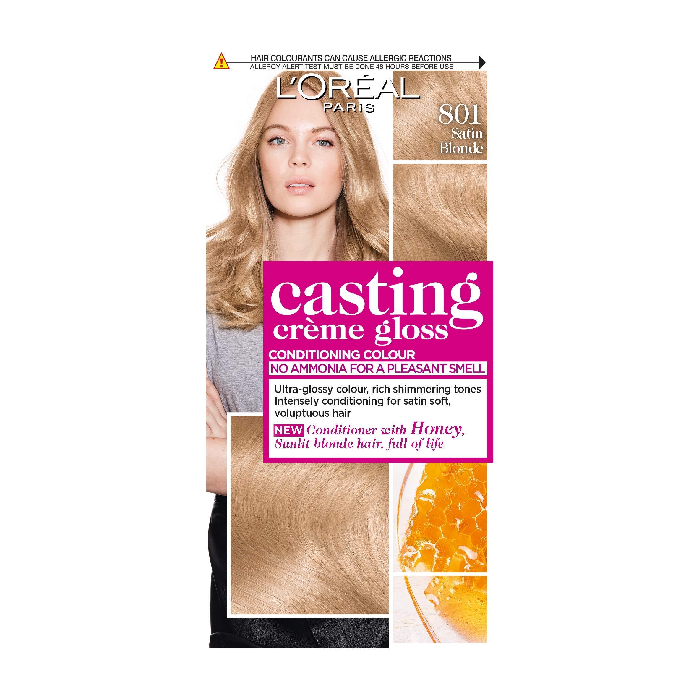 L'Oreal Paris Casting Creme Gloss Semi-Permanent Blonde Hair Dye, Blends Away Grey Hair Leaving a Radiant Hair Colour, Blonde Hair Dye 801 Satin Blonde