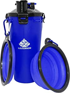 Dog Water Bottle, Dog Water Bowls. High-Capacity Portable Dog Water and Food Container, Including a Leak-Proof Cup and 2 Collapsible Dog Bowls for Both Indoor Useand Travelling Hiking Camping