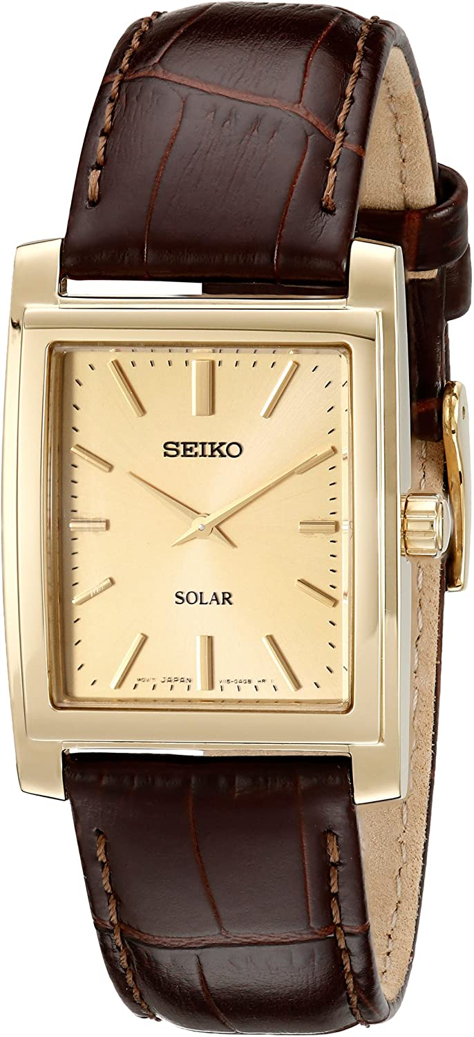 2020 New Seiko Men's SUP896 Gold-Tone and Brown Leather Solar-Power Dress  Watch simple- | Lazada PH