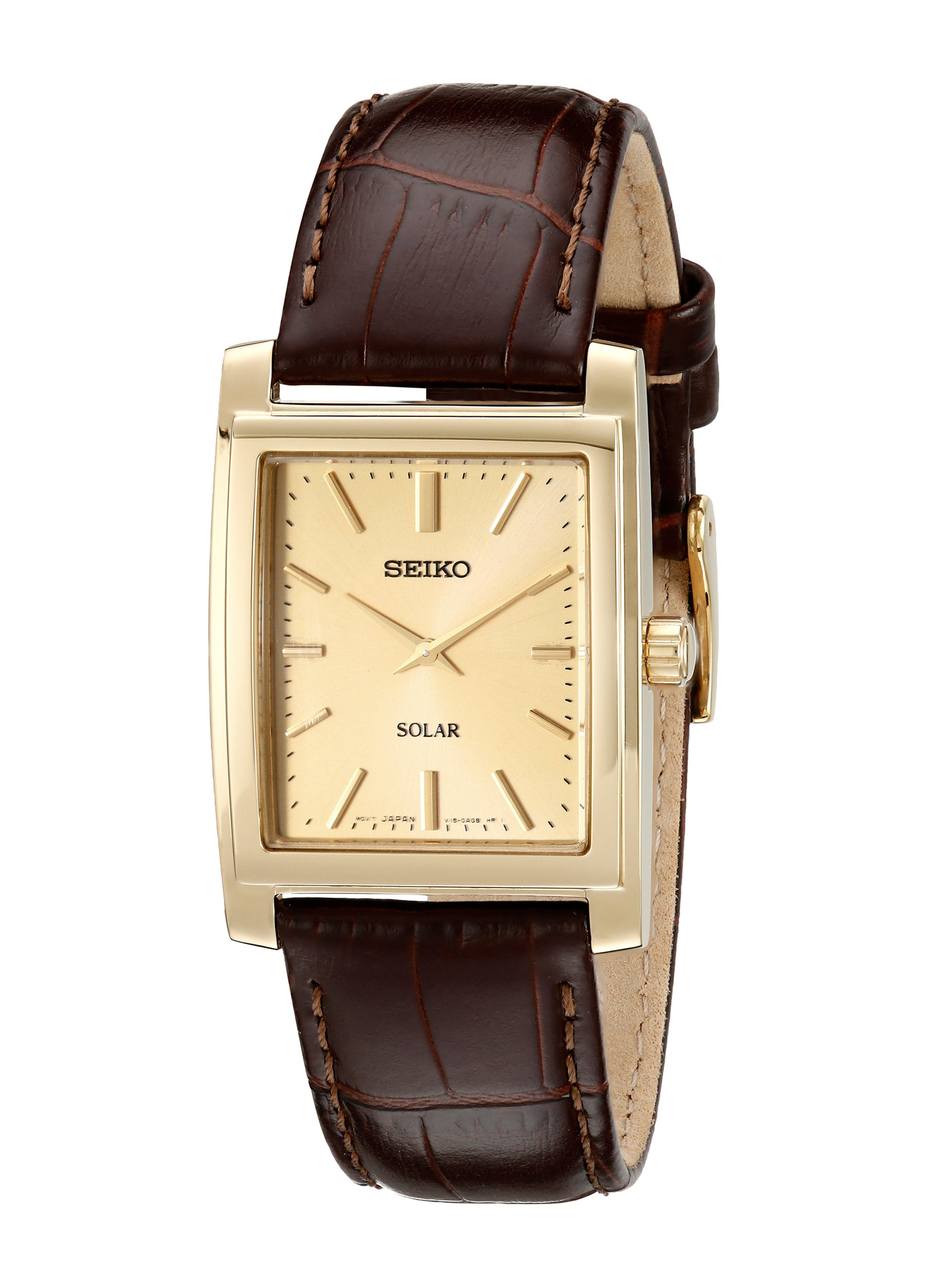 Seiko Men's SUP896 Gold-Tone and Brown Leather Solar-Power Dress Watch by SEIKO