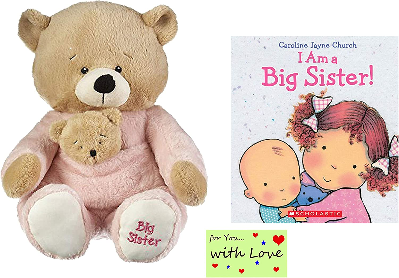 Big Sister Gift Set Little Girls, Toddlers, Big Sister Bear w/ Removable Rattle I am a Big Sister Book Caroline Church