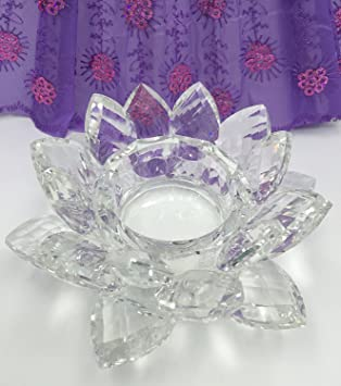 "Sun Rise 4.5"" Crystal Clear Lotus Candle Holder Crystal (Clear) by Sun Rise"
