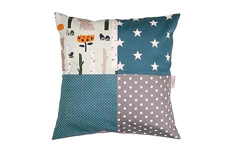 Funda patchwork para cojín de ULLENBOOM ® con bosque, verde, azul (funda para cojín de 40 x 40 cm; 100% algodón; ideal como cojín decorativo para la ...