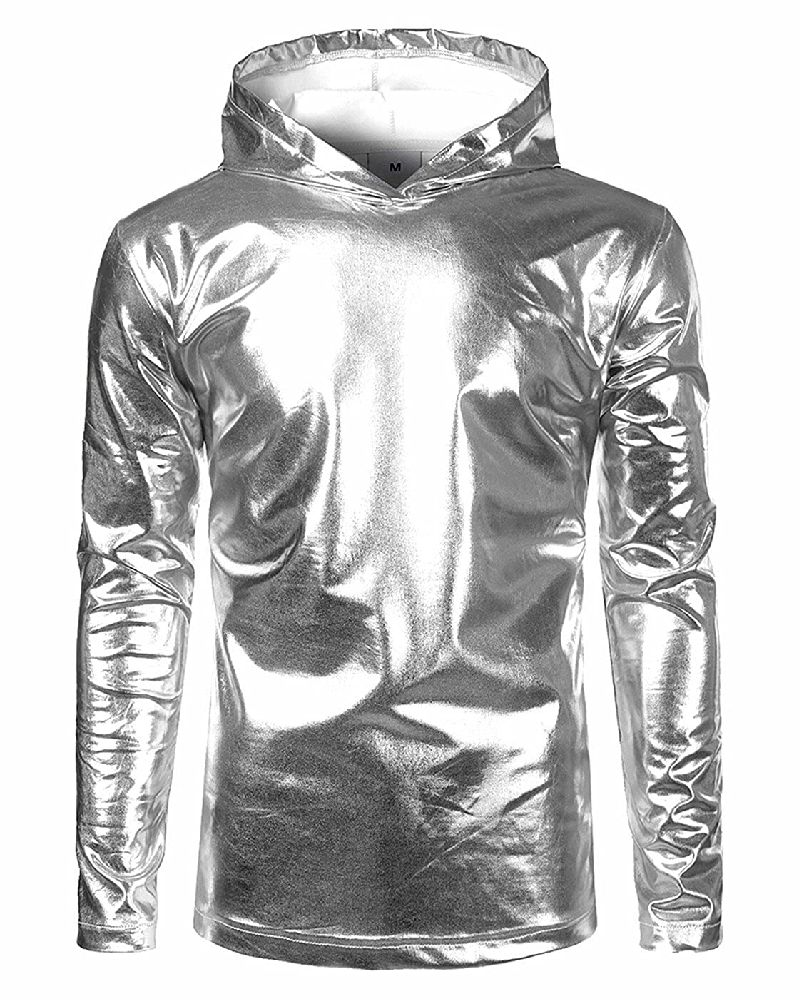 CIC Collection Men's Casual Long Sleeve Nightclub Metallic