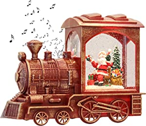 GenSwin Music Lighted Train Snow Globe Lantern Water Snowing Glittering Battery Operated with Timer, Christmas Santa Claus Musical Lighted Home Decoration and Gift(Red)