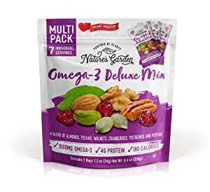 Nature's Garden Omega-3 Deluxe Mix Heart Healthy Snack - 1.2-oz Bags (Pack of 7)