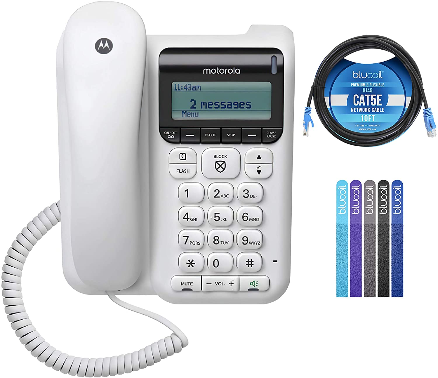 Motorola CT610 Corded Telephone with Answering Machine & Call Blocking Bundle with 10-FT 1 Gbps Cat5e Cable, and Blucoil 5-Pack of Reusable Cable Ties