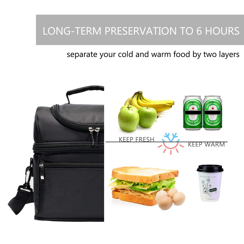 Campeggio e Picnic Nero Scuola E-MANIS Borsa Pranzo Borsa Frigo Impermeabile 2 Scomparti Borsa Termica capacit/à da 8L con Tracolla Rimovibile Lunch Bag per Ufficio