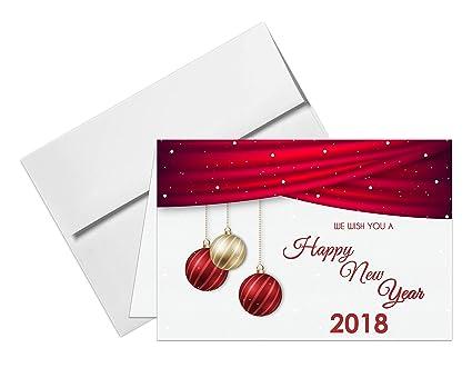 Amazon.com : 2018 Happy New Year Cards & Envelopes - 25 Cards & 25 ...