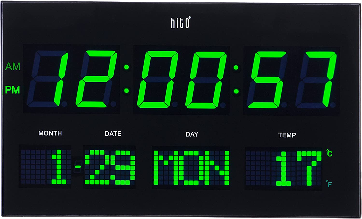 """hito 14.2"""" Large Oversized LED Wall Clock Seconds Date Day Indoor Temperature Adjustable Brightness Memory Function Adapter Included Decorative for Living Room Office Conference Room Bedroom (Green)"""