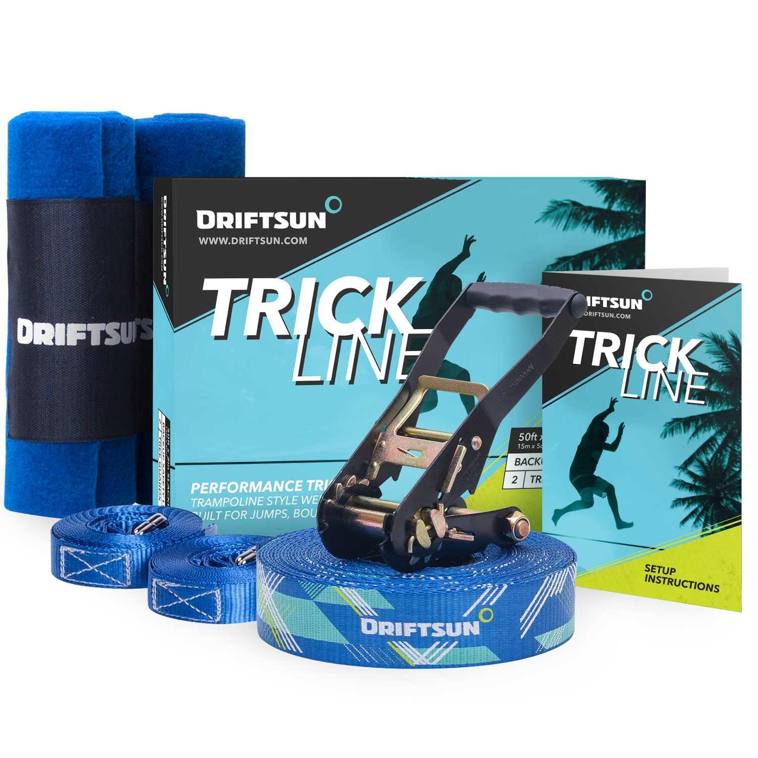 Driftsun Slack-Line Trick-Line Complete Kit with Back-Up Line and Tree Guard Protectors, Easy to Set-Up and Includes Carry Bag, 50-Foot by Driftsun