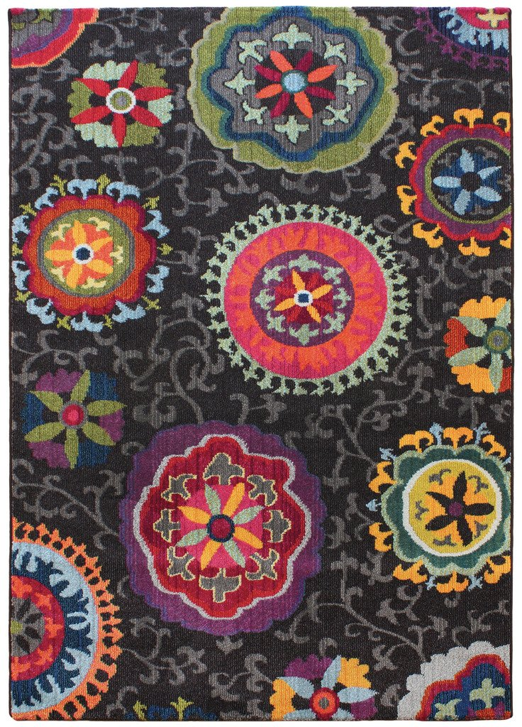 Colores Retro Dark Multi Coloured Soft Modern Floral Living Room Rug The Rug House Colores Rug 080x150cm 02_AS