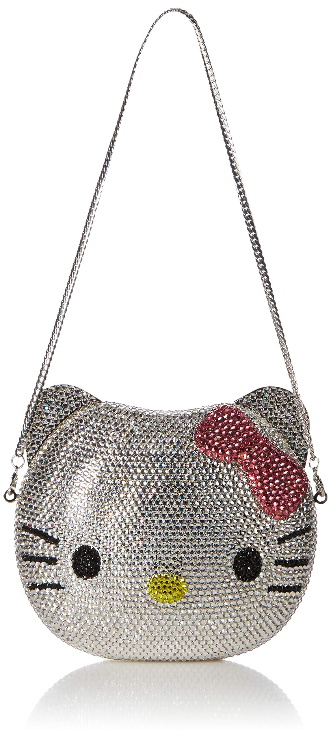 3-D Hello Kitty Cat Crystal Couture Clutch Special Occasion Holiday Party Evening Bag Silver