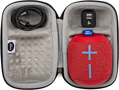 Ultimate Ears WONDERBOOM 2 Portable Waterproof Bluetooth Speaker (Radical Red) with Knox Gear Padded Protective Case, 6 ft. Cable and Wall Plug(4 Items)