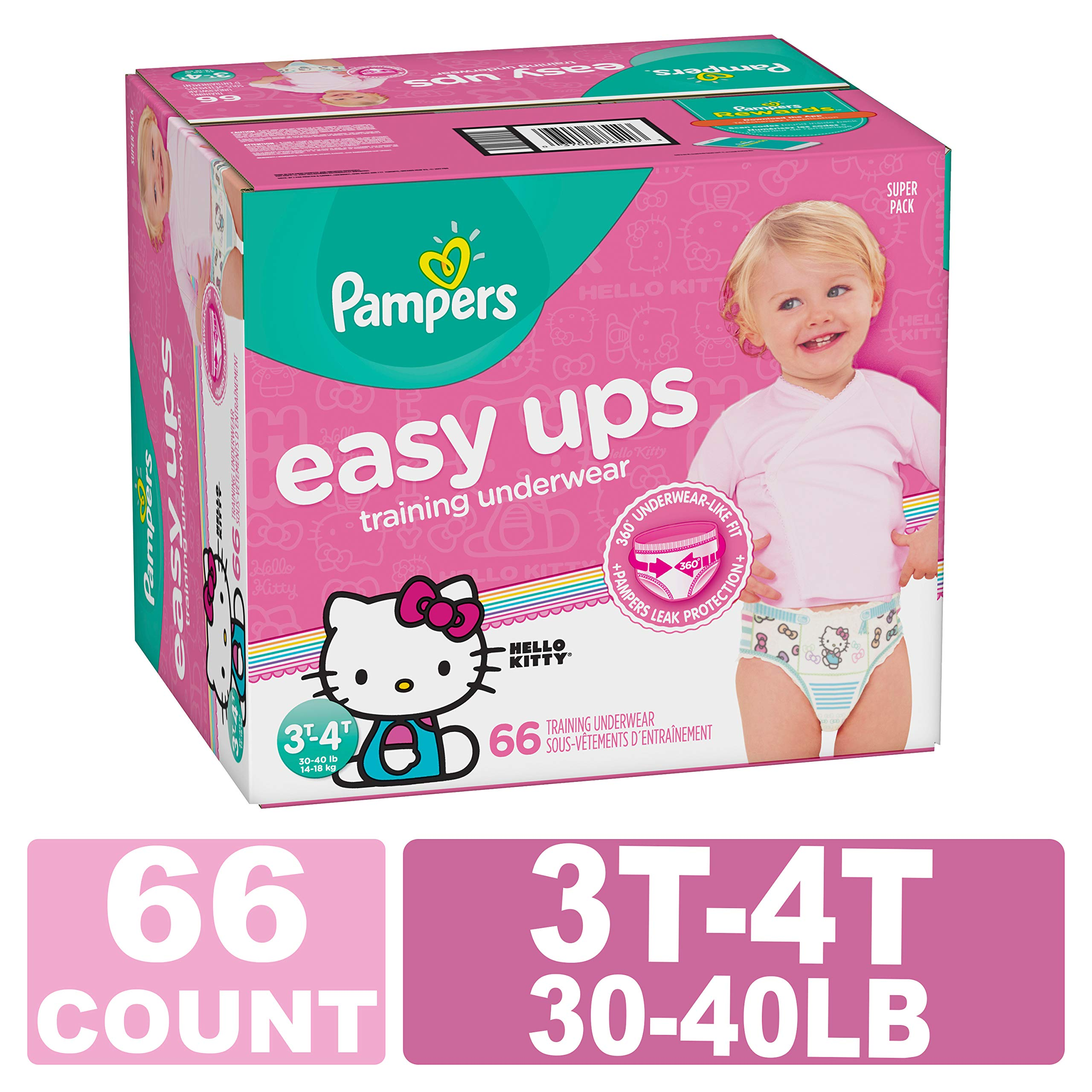 Pampers Easy Ups Pull On Disposable Training Diaper for Girls Size 5 (3T-4T) 66 Count, Super Pack by Pampers (Image #1)