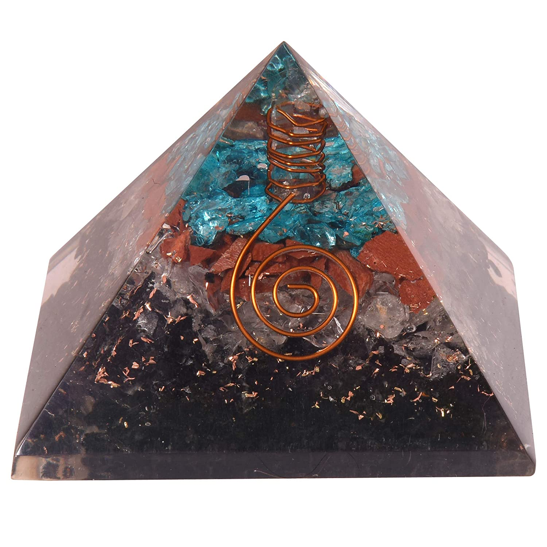 Red Jasper and Apatite Crystal Energy Generator EMF Protection Reiki Healing Chakra Pyramid Natural Crystal Orgone Pyramid Tourmaline Clear Quartz