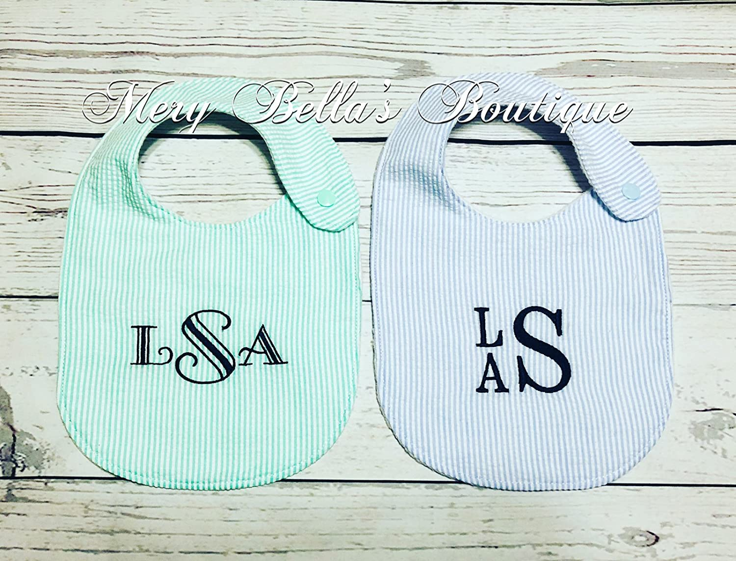 Monogrammed Baby bib, Personalized Seersucker bib,baby shower gift, customizable baby set,embroidered bib,baby boy gift, baby girl gift,monogrammed bib