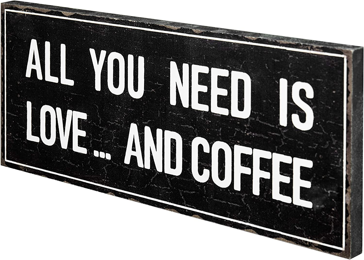 MyGift Vintage Style Wall Mounted Decorative Wooden Sign, All You Need is Love and Coffee
