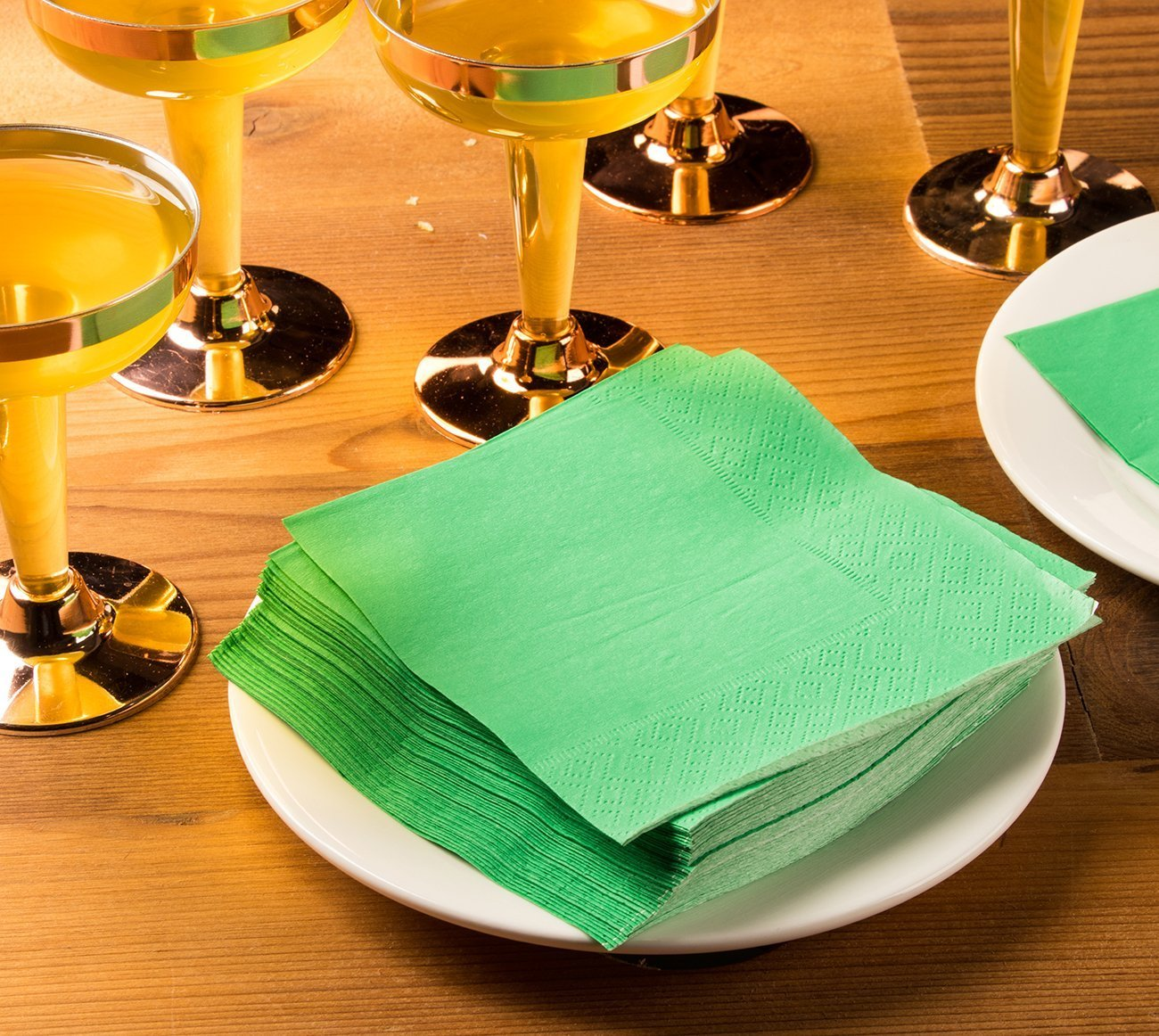 Cocktail Napkins - 200-Pack Disposable Paper Napkins, 2-Ply, Kelly Green, 5 x 5 Inches Folded by Blue Panda (Image #2)