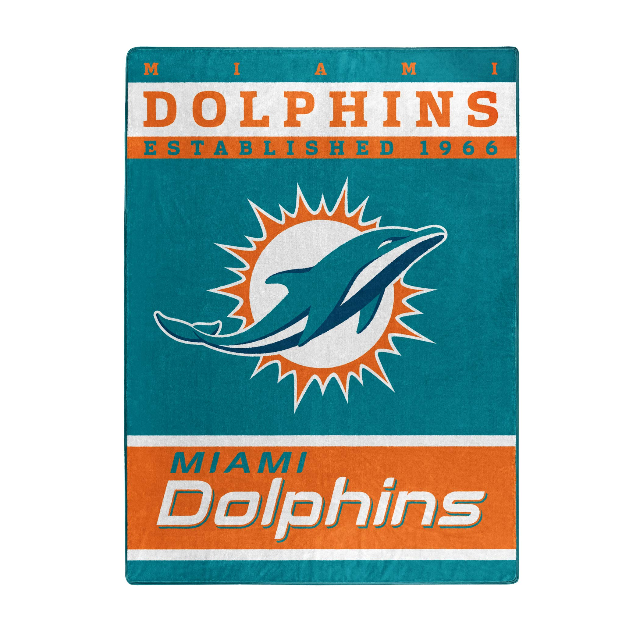 The Northwest Company Officially Licensed NFL Miami Dolphins 12th Man Plush Raschel Throw Blanket, 60'' x 80'', Multi Color by The Northwest Company