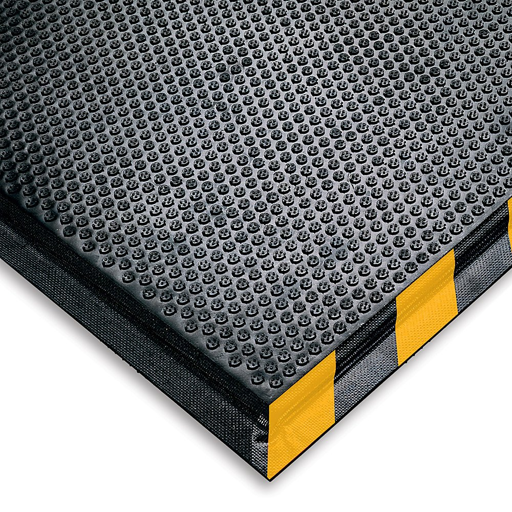 M+A Matting 476 Happy Feet Nitrile Rubber Grip Surface Anti-Fatigue Interior Floor Mat with Striped Yellow Border, 3' Length x 2' Width, 1/2'' Thick, Yellow Border
