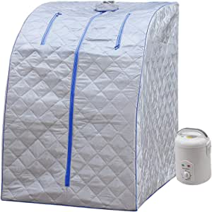 Portable Personal Therapeutic BIONOURISHED Spa Home Steam Sauna Weight Loss Slimming Detox (Blue Outline) (Silver Blue)