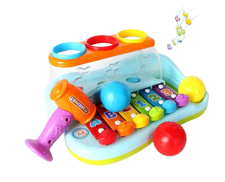 Gioco Musicale Tastiera, Strumenti Musicali Bambini, Pianoforte Bambino Xilofono Giocattolo con Martello e Palle per Bambino 1, 2, 3 Anni (Color 2) Topeasy