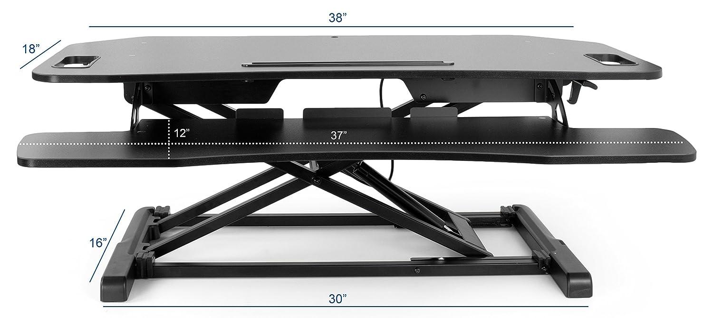 VIVO Black Height Adjustable Stand up Tabletop Desk – Monitor Riser 37 Sit to Standing Workstation DESK-V000KL
