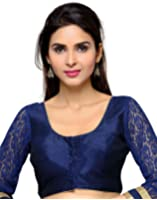 Studio Shringaar Poly Raw Silk Solid Navy Blue Designer Blouse