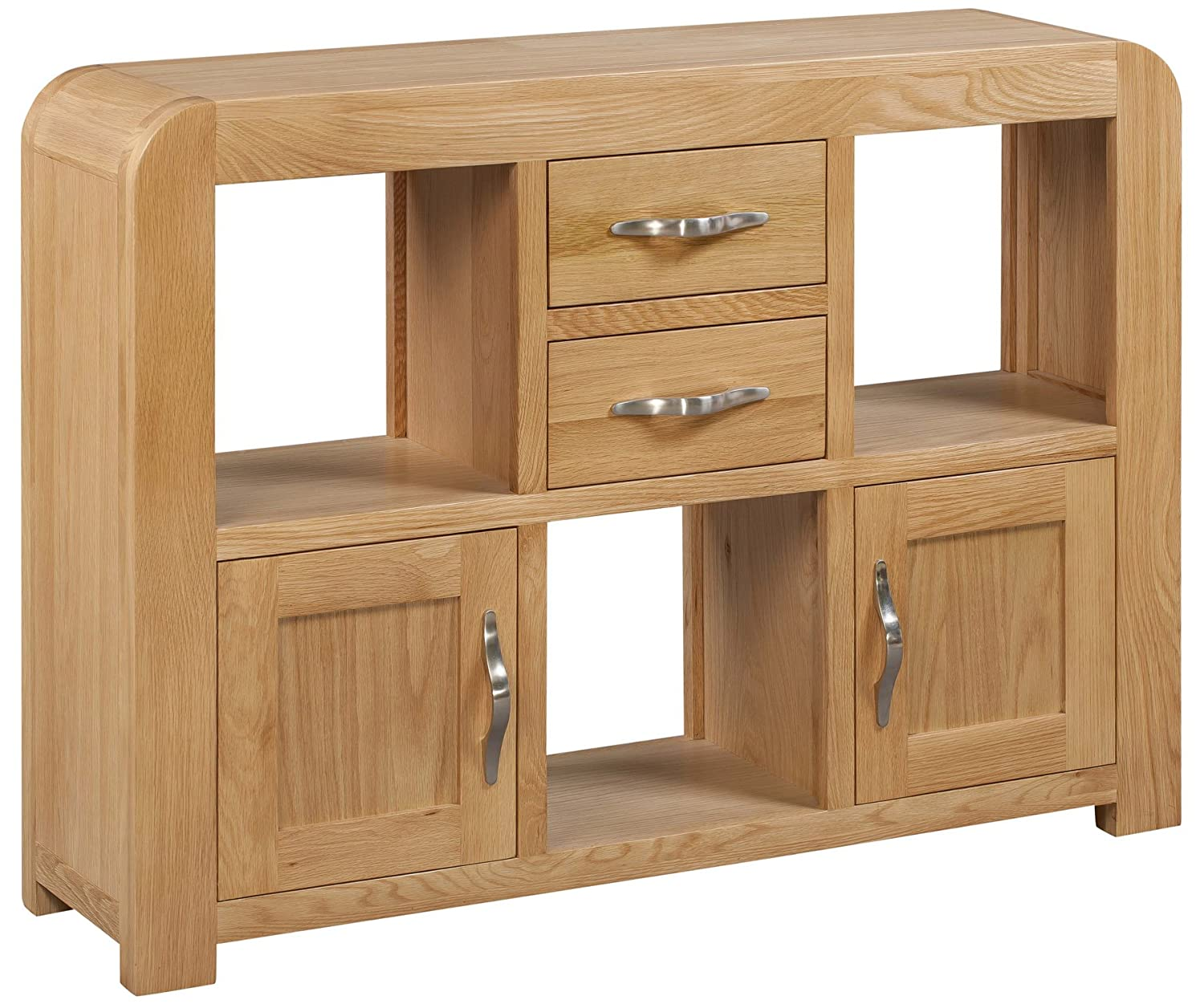 Venice Oak Small Display Cabinet includes Two Drawers with Lacquered Finish|2 Door 2 Drawer Cupboard with Shelving|Solid Wood 2 Tier Unit Storage Unit Hallowood Furniture