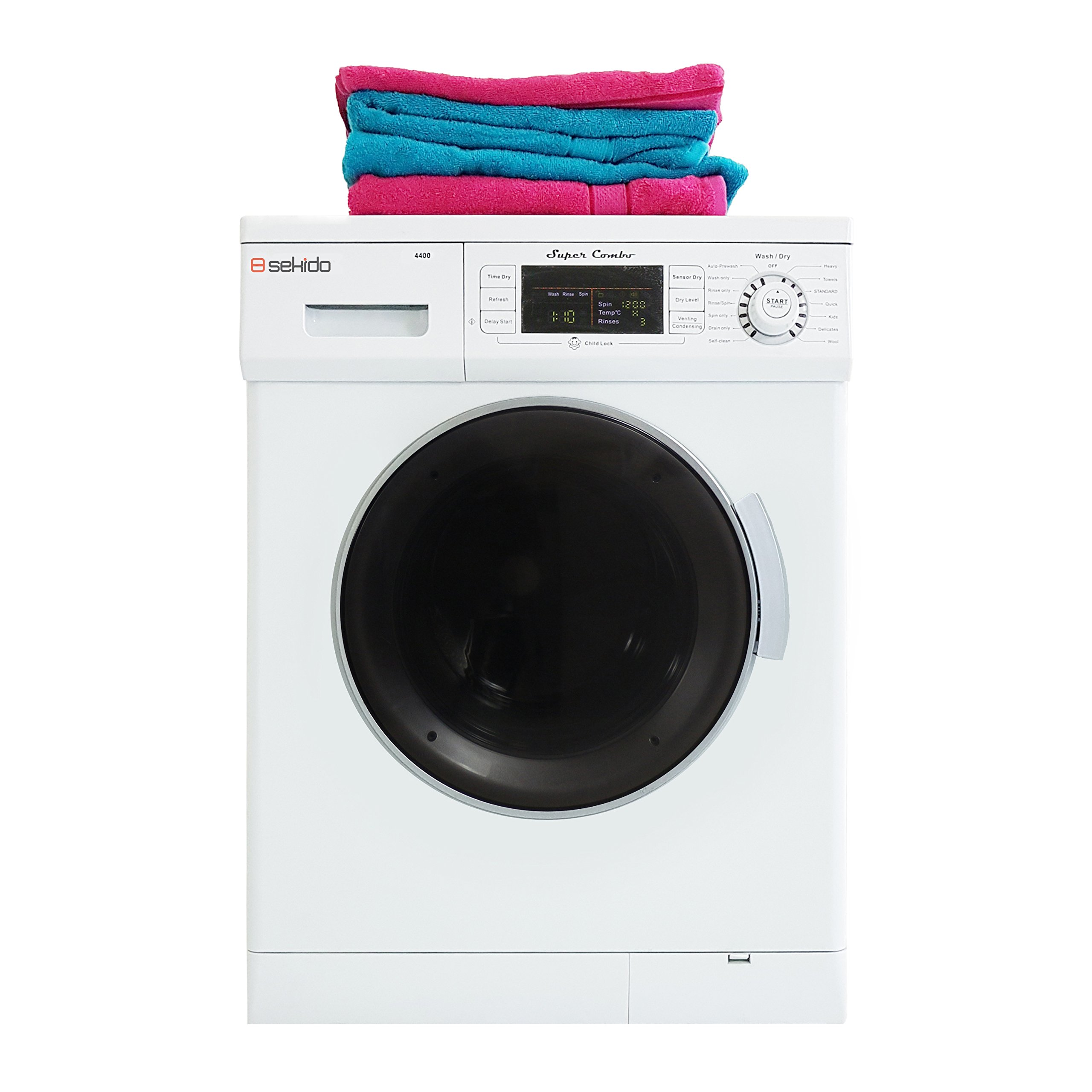 All in one Front Load 1.6 Cu.ft. New Compact Combo Washer Dryer SK 4400 CV White with Optional Venting/ Condensing Drying with Automatic Water Level and Sensor Dry