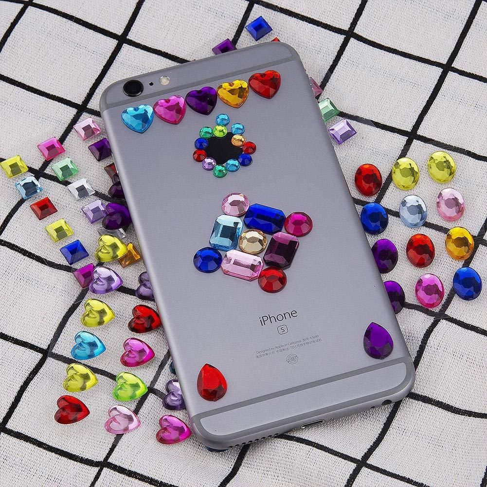 VGOODALL 7 Blätter 540 Stück Strasssteine Selbstklebend, Glitzersteine zum Aufkleben Bunt Schmucksteine Selbstklebend für Mädchen Handwerke, Fotorahmen, Grußkarten
